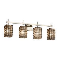 Wire Glass Union 4-Light Bath Bar, Square With Flat Rim, Grid