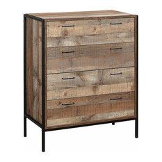 Rustic Drawer Chest, Solid Wood and Steel Frame With 4-Drawer for Storage