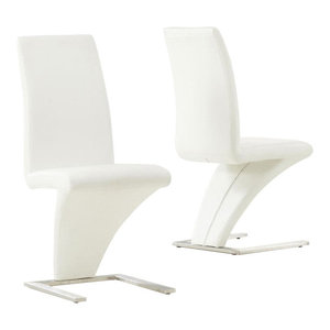 Hereford Dining Chairs, White Faux Leather, Set of 2