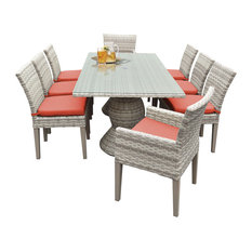 Rectangular Outdoor Patio Dining Table, 6 Armless Chairs/2 Chairs With Arms