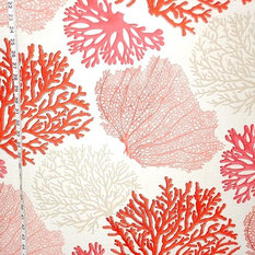 brick house fabrics red coral fabric pink salmon orange ocean standard cut drapery - Patterned Curtains