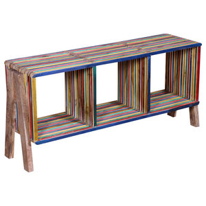 VidaXL TV Stackable Reclaimed Teak Cabinet With 3 Shelves, Multicolour
