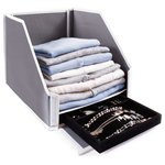 Great Useful Stuff - Collapsible Closet Sweater Bin With Hidden Jewelry and Keepsake Storage Tray - *FRONT FLAP FOLDS DOWN FOR OPTIMAL USE -- How many times do you go to your closet and the one item you need is at the bottom of the stack? Avoid a tumbling tower of clothes with our Closet Shelf Storage Bin! Our front flap folds down so that you can slide out the desired item without the whole stack of clothes falling down! The durable and sturdy panels of the storage box is the best way to keep your carefully stacked clothes in solid folded towers.