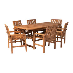 7-Piece Extendable Outdoor Patio Dining Set, Brown