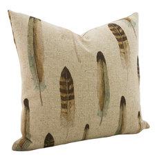 Linen Feather Throw Pillow