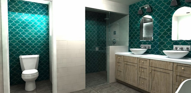 Rendering Green Fish-scale and a New Layout Tile Boost a Once-Pink Bathroom