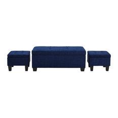 Everett 3-Pack Storage Ottoman, Blue