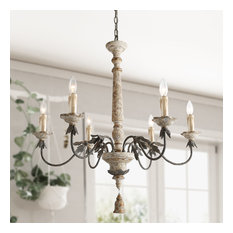 LNC 6-Light Shabby-Chic French Country Retro-white Wooden Chandeliers