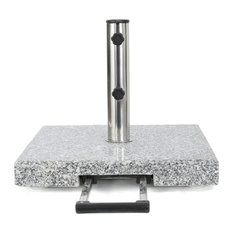 GDF Studio Martino Outdoor Gray Granite and Stainless Steel Umbrella Base