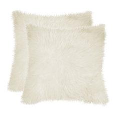 """100% Sheepskin New Zealand Pillows, Set of 2, Natural, 18""""x18"""""""