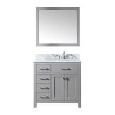 36-inch Single Bath Vanity In Cashmere GreyMarble Top And Round SinkMirror