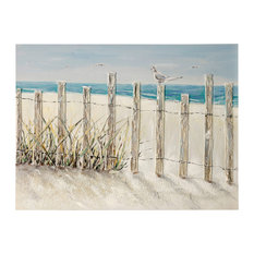 """Beach Fence Bird, 48""""x36"""" Hand Painted Coastal Textured Stretched Canvas"""