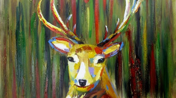 Deer Head Oil Painting