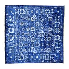 10'x10' Square Wool and Bamboo Silk Tone on Tone Tabriz Handmade Rug