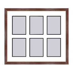 Mahogany Collage Picture Frame with 6 rectangle openings for 3.5 X 5 photos