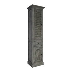 79 Rustic Solid Fir Side Cabinet, Gray