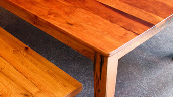 Cherry Dining Table With Reclaimed Oak Base and Bench