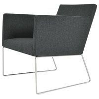 Harput Wire Lounge Chair, Chrome Plated Steel Tubes Base, Dark Gray Camira Wool