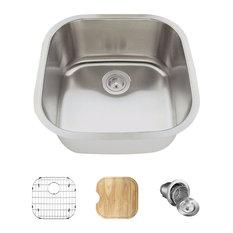 Single Bowl Stainless Steel Bar Sink, 16-Gauge, Ensemble