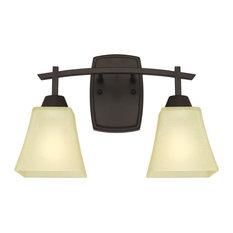 "Westinghouse 6307400 Midori 15"" Wide 2 Light Bathroom Vanity Light with Glass S"