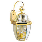Vaxcel - Titanium Polished Brass and Clear Beveled Glass Exterior Wall Light - For over 20 years, Vaxcel International has been a premier supplier of residential lighting products.ranging from builder-ready fixtures and ceiling fans to designer chandeliers and lamps, in the latest styles and finishes.. This exterior takes 3-60 watt bulbs. Bulbs not included. UL approved