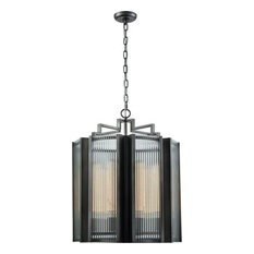 Dimond Lighting Glass Chandelier, Aged Pewter Finish