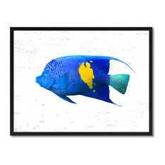 "Blue Tropical Fish Painting, 28""x37"""