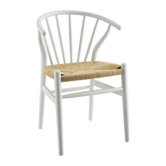 Flourish Spindle Wood Dining Side Chair, White