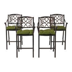 Sibyl Outdoor Barstool With Cushion, Set of 4, Shiny Copper/Olive