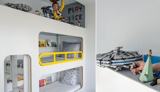 Kran, lego, guckloch: zwei kreative kinderzimmer für drei brüder