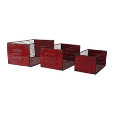 cheungs mesh metal desk organizers red set of 3 storage bins and