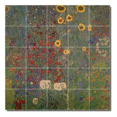 """Gustave Klimt Garden Painting Ceramic Tile Mural #48, 30""""x30"""""""