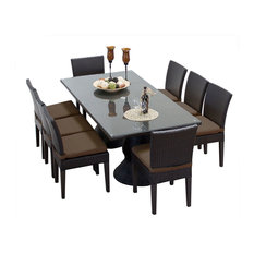 Tkclics Saturn Outdoor Dining Table With Armless Chairs 9 Piece Set Brown