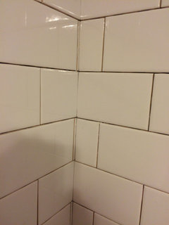 Subway Tile Job Done Today Take A Look I Have Gc Guy Tried To Make Mitered Corner With Bull Nose And Had Split It Nice Slivers Huh