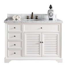 "Savannah 48"" Cottage White Single Vanity 4CM Carrara White Marble Top"