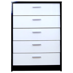 Khabat 5-Drawer Chest, White and Matte Black