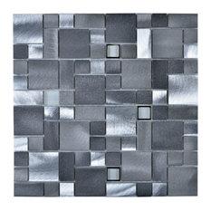 "Legion Furniture 11.75""x11.75"" Mosaic Tile With Mix Aluminum, Pewter"