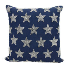 Mina Victory Luminecence Beaded Stars Navy and Silver Throw Pillow