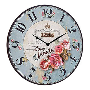 Paris Family Round Wooden Wall Clock