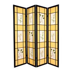 6' Tall Herbal Floral Shoji Screen, 4 Panel, Black