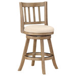 Boraam - Sheldon Counter Stool, Driftwood Wire-Brush and Ivory - The Wire Sheldon Counter Stool from Boraam Industries, Inc. boasts a solid hardwood footrest. Boasting a 360-degree swivel mechanism, this piece has been designed with your comfort in mind. This stool also features a wooden backrest and a high-density foam seat cushion upholstered in ivory linen. Exuding a warm, luxurious feel, thanks to its rich colors and sumptuous textures, this stool from Boraam Industries, Inc. makes a sophisticated addition to any interior space.