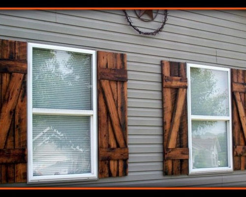 Reclaimed barn wood exterior shutters for Barnwood shutters