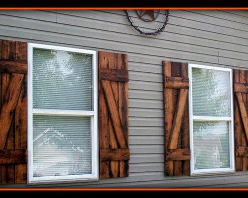 Reclaimed barn wood exterior shutters for Barnwood shutters