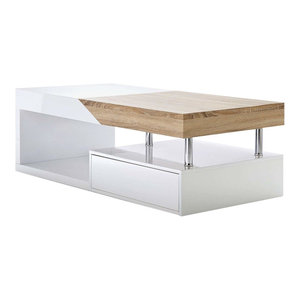 Modern Coffee Table, MDF With 2-Storage Drawer, Oak and White Gloss