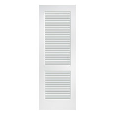 "Full Louver Primed Interior Door Slab, 30""x80"""