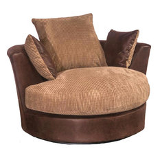 Darcey Swivel Chair, Brown and Coffee