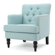 GDF Studio Madene Tufted Back Fabric Club Chair, Light Blue