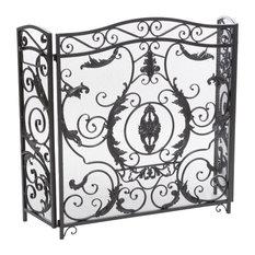 gdfstudio mariella floral iron fireplace screen silver finish fireplace screens - Decorative Fireplace Screens