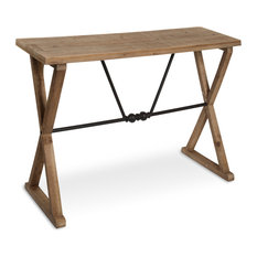 Travere Wood and Metal Console Table, Rustic Brown