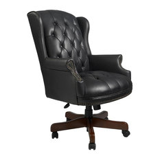 BOSS Chair Wingback fice Chair in Black Vinyl with and Adjustable Height fice Chairs